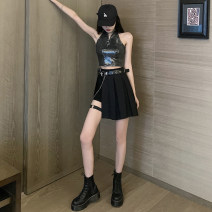 skirt Summer 2020 S,M,L 05 Sequin top (single piece), single ring shorts (single piece), black skirt + belt chain (single piece), 05 Sequin Top + single ring shorts, single ring shorts + black skirt + belt two-piece set Short skirt street High waist Pleated skirt Solid color Type A other Hip hop
