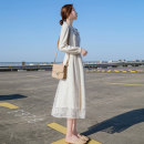 Dress Autumn 2020 Off White Velvet thickening S,M,L,XL,2XL Mid length dress singleton  Long sleeves commute V-neck High waist Solid color Socket A-line skirt bishop sleeve Others Type A Autumn embroidery Korean version Chiffon other