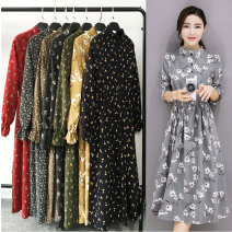 Dress Winter of 2019 longuette singleton  Long sleeves commute stand collar High waist Decor Socket Big swing pagoda sleeve Others 18-24 years old Type A Korean version Auricularia auricula, button 81% (inclusive) - 90% (inclusive) corduroy