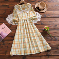 Dress Spring 2021 Lake blue , yellow S,M,L,XL Mid length dress singleton  Long sleeves Sweet square neck Elastic waist lattice Socket Big swing bishop sleeve Others 18-24 years old Type X Other / other Pleating, pleating, stitching, lace 71% (inclusive) - 80% (inclusive) other nylon Mori