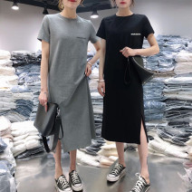 Dress Summer 2021 M,L,XL,2XL,3XL,4XL longuette singleton  Short sleeve commute Crew neck middle-waisted Cartoon animation Socket routine Others 18-24 years old Type H Korean version printing 91% (inclusive) - 95% (inclusive) other polyester fiber