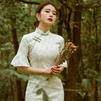 cheongsam Summer 2020 S,M,L,XL Picture color Short sleeve long cheongsam Retro No slits banquet Oblique lapel