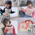 T-shirt Beautiful row 90cm 100cm 110cm 120cm 130cm 140cm female spring and autumn Long sleeves Crew neck Korean version There are models in the real shooting nothing Pure cotton (100% cotton content) Cartoon animation Cotton 100% Class B Spring 2021