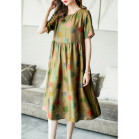 Dress Summer 2021 Decor M L XL XXL XXXL Mid length dress singleton  Short sleeve commute Crew neck Loose waist Dot Socket A-line skirt routine Others 35-39 years old Type A Ajido lady printing A88025 30% and below nylon Lyocell (Lyocell) 79.9% polyamide (nylon) 20.1% Pure e-commerce (online only)