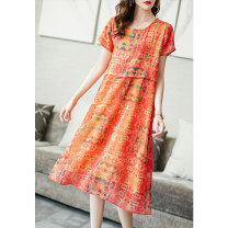 Dress Summer 2021 Orange S M L XL XXL XXXL Mid length dress singleton  Short sleeve commute Crew neck Loose waist Decor Socket A-line skirt routine Others 35-39 years old Type A Ajido printing A96701 More than 95% other Other 100% Pure e-commerce (online only)