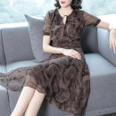 Dress Summer 2020 Decor S M L XL XXL Mid length dress singleton  Short sleeve commute V-neck middle-waisted Decor Socket A-line skirt routine Others 35-39 years old Type A Ajido Retro printing More than 95% Chiffon polyester fiber Polyester 100% Exclusive payment of tmall