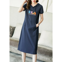 Dress Summer 2021 dark blue S M L XL XXL XXXL Mid length dress singleton  Short sleeve commute Hood Loose waist Solid color Socket A-line skirt routine Others 35-39 years old Type H Ajido lady Pocket print More than 95% other Other 100% Pure e-commerce (online only)