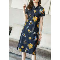 Dress Summer 2021 navy blue S M L XL XXL XXXL Mid length dress singleton  Short sleeve commute Polo collar middle-waisted Decor Socket A-line skirt routine Others 35-39 years old Type A Ajido Korean version Patchwork printing A96520 More than 95% brocade other Other 100% Pure e-commerce (online only)