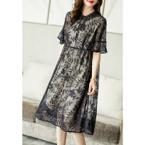 Dress Summer 2021 black S M L XL XXL XXXL Mid length dress singleton  Short sleeve commute Crew neck High waist Decor Socket A-line skirt Lotus leaf sleeve Others 35-39 years old Type A Ajido lady Embroidered lace A96051 More than 95% silk Mulberry silk 100% Pure e-commerce (online only)