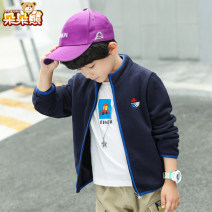 Plain coat Bear after bear male 110cm 120cm 130cm 140cm 150cm 160cm 170cm Navy (spring and Autumn) (fleece spring coat) spring and autumn Korean version Zipper shirt There are models in the real shooting routine nothing Cartoon animation other square neck D19C991 Polyester 100% Class C Spring 2020