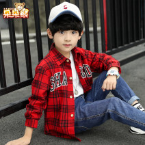 shirt Red and yellow Bear after bear male 110cm 120cm 130cm 140cm 150cm 160cm 170cm spring and autumn Long sleeves Korean version lattice Pure cotton (100% cotton content) Lapel and pointed collar Cotton 100% Class B Autumn 2020