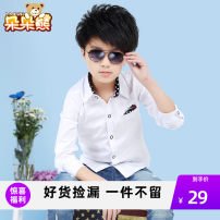 shirt White blue Bear after bear male 110cm 120cm 130cm 140cm 150cm 160cm 170cm spring and autumn Long sleeves Korean version Solid color Pure cotton (100% cotton content) Lapel and pointed collar Cotton 100% Class B Spring 2020