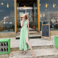 Dress Summer 2021 Avocado flesh green, fairy white Xs, s, m, l, own factory production ~ strict quality control longuette singleton  Sleeveless commute Crew neck High waist Solid color Socket Big swing routine Hanging neck style Type X Other / other Korean version backless New summer dress Chiffon