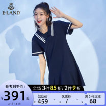 Dress Spring 2021 155/XS 160/S 165/M 170/L Mid length dress singleton  Short sleeve Sweet Admiral Solid color other Ruffle Skirt routine 25-29 years old Type A E·LAND Lotus leaf edge More than 95% cotton Cotton 100% Pure e-commerce (online only)