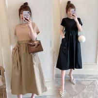 Dress Other / other Black, camel M. L, XL, XXL, XXXL, increase XXXL Korean version Short sleeve Medium length summer Crew neck other Cotton material