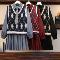 Women's large Spring 2021 Red, blue, black Big L, big XL, big M, big 2XL, big 3XL, big 4XL Dress Two piece set commute easy moderate Socket Long sleeves lattice Korean version Polo collar routine polyester Short skirt