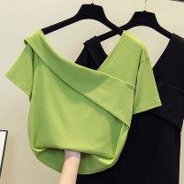 Women's large Spring 2021, summer 2021 Black, fruit green M [80 ~ 100 Jin], l [100 ~ 120 Jin], XL [120 ~ 140 Jin], 2XL [140 ~ 160 Jin], 3XL [160 ~ 180 Jin], 4XL [180 ~ 200 Jin] T-shirt singleton  commute easy moderate Socket Short sleeve Solid color Korean version other routine polyester other