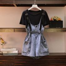 Women's large Summer 2020 Suspenders, two piece set L(90-110),XL(110-130),2XL(130-150),3XL(150-170),4XL(170-190) Two piece set commute easy moderate Short sleeve Korean version routine Denim shorts