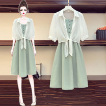 Women's large Summer 2020 Green, black Large XL, large XXL, large XXL, large XXXXL, large L Two piece set commute easy thin elbow sleeve Korean version Polo collar polyester Three dimensional cutting Middle-skirt