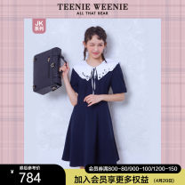 Dress Summer 2021 Navy [pre sale] Navy 155/XS 160/S 165/M 170/L 175/XL longuette singleton  Short sleeve commute Doll Collar middle-waisted letter Socket A-line skirt routine 18-24 years old Teenie Weenie Britain TTOW216508N 91% (inclusive) - 95% (inclusive) other polyester fiber