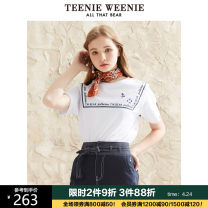 T-shirt white 155/XS 160/S 165/M 170/L 175/XL Summer 2020 Short sleeve Crew neck Straight cylinder Regular routine commute cotton 96% and above 18-24 years old Britain letter Teenie Weenie TTRA202546A Cotton 100% Same model in shopping mall (sold online and offline)
