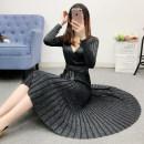 Dress Winter of 2019 Average size Mid length dress singleton  Long sleeves commute V-neck Elastic waist Solid color Socket Pleated skirt routine Others Type A Korean version knitting