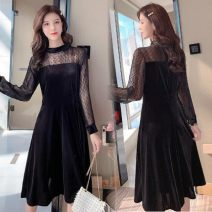 Dress Autumn of 2019 black S,M,L,XL Middle-skirt singleton