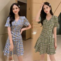 Dress Summer of 2019 Blue, green S,M,L,XL Middle-skirt singleton  Short sleeve commute V-neck middle-waisted lattice Socket routine 18-24 years old Other / other Korean version Button 91% (inclusive) - 95% (inclusive) other