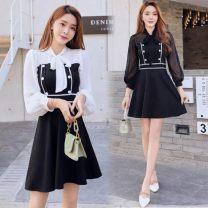 Dress Spring 2020 Black skirt, white sleeve, black skirt, black sleeve S,M,L,XL Short skirt singleton  Long sleeves commute other High waist Solid color zipper A-line skirt routine Others 18-24 years old Type A Korean version Splicing