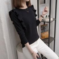 Women's large Spring 2021 White, black Knitwear / cardigan singleton  commute easy moderate Socket Long sleeves Korean version Crew neck routine