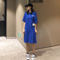 Dress Summer of 2019 Blue, red, white, black Average size singleton  Short sleeve Crew neck letter More than 95% cotton