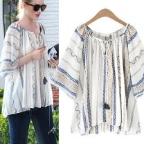 Women's large Summer of 2018 blue Large XL, large XXL, large XXL, large XXXXL, large XXXXL T-shirt singleton  street easy moderate Socket three quarter sleeve stripe Crew neck routine hemp Other / other 81% (inclusive) - 90% (inclusive) Europe and America