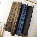 skirt Summer 2021 Average size Blue skirt, black skirt, green skirt Mid length dress commute High waist A-line skirt Solid color 18-24 years old FG710399 30% and below Korean version