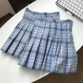 skirt Summer 2021 S,M,L Blue skirt Short skirt commute High waist Pleated skirt lattice Type A 18-24 years old FG711278 30% and below other Other / other other Korean version