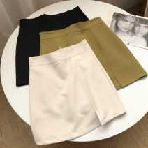 skirt Spring 2021 S,M,L,XL Apricot skirt, black skirt, green skirt Short skirt fresh High waist A-line skirt Solid color Type A 18-24 years old FG214606 30% and below other other
