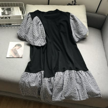 Dress Spring 2021 black Average size longuette singleton  Long sleeves commute Crew neck Loose waist lattice Socket other Others 18-24 years old Type A Other / other Korean version 30% and below other