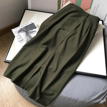 skirt Spring 2021 Average size Army green skirt Mid length dress commute High waist A-line skirt Solid color Type A 18-24 years old FG308421 30% and below polyester fiber zipper Korean version
