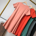 Dress Summer 2021 Average size Mid length dress singleton  Short sleeve commute Crew neck Loose waist Solid color Socket Big swing routine Others 18-24 years old Type A Korean version 30% and below other other