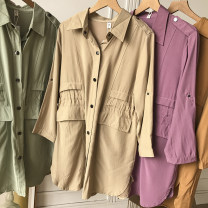 Dress Spring 2021 Khaki dress, coffee dress, purple dress, pink dress, white dress, green dress M, L Mid length dress singleton  Long sleeves commute Polo collar Loose waist Solid color Single breasted routine 18-24 years old Korean version FG308956 30% and below other other