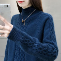 sweater Winter of 2019 Average size Oatmeal yellow army green rose red camel Blue Orange Long sleeves Socket singleton  Regular other 95% and above Half high collar Regular raglan sleeve Solid color Straight cylinder Regular wool Keep warm and warm 25-29 years old Rui Chu RC19D0727 Hemp flowers