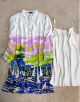 Dress Summer 2020 Decor 2,4,6,8 Middle-skirt Two piece set three quarter sleeve Socket H23 More than 95% silk