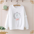Sweater / sweater Spring 2021 White, orange pink Average size Long sleeves routine Socket singleton  routine Crew neck easy Sweet routine Plants and flowers 18-24 years old 71% (inclusive) - 80% (inclusive) cotton Bows, patches, embroidery cotton Cotton liner solar system