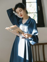 Dress Spring 2021 blue S,M,L longuette singleton  Long sleeves commute V-neck High waist Solid color Single breasted Big swing bishop sleeve 18-24 years old Type A Retro Pleats, buttons 71% (inclusive) - 80% (inclusive)