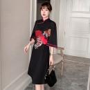 cheongsam Spring 2021 XXL,XXXL,M,L,XL,4XL black Long sleeves Short cheongsam Retro No slits daily Oblique lapel Decor 18-25 years old Embroidery
