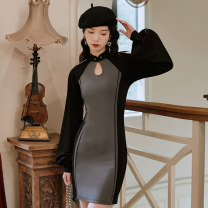 cheongsam Winter 2020 S,M,L dark gray Long sleeves Short cheongsam Retro No slits daily Solid color 18-25 years old Piping 71% (inclusive) - 80% (inclusive)