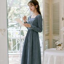 Dress Winter 2020 blue S,M,L Mid length dress singleton  Long sleeves commute square neck High waist Solid color Socket A-line skirt 18-24 years old Type A Retro 71% (inclusive) - 80% (inclusive) corduroy