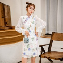 cheongsam Spring 2021 S,M,L,XL Colorful white and purple Long sleeves Short cheongsam Retro Low slit daily Oblique lapel Decor 18-25 years old Piping 71% (inclusive) - 80% (inclusive)