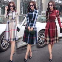 Dress Autumn 2021 Red, beige, blue 2XL,L,XL,M Mid length dress singleton  Long sleeves Sweet V-neck High waist lattice Single breasted A-line skirt routine Breast wrapping 18-24 years old Type A Splicing RX48 81% (inclusive) - 90% (inclusive) brocade cotton college