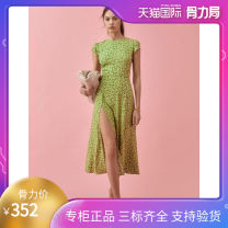 Dress Summer 2021 Fruit green flower XS,S,M,L,XL Mid length dress singleton  middle-waisted Broken flowers zipper DVF two thousand and twenty-one point three zero two five