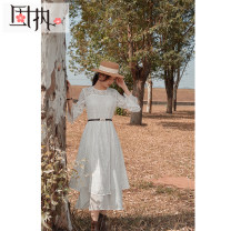 Dress Summer 2021 white 160/80A/S 165/84A/M 170/88A/L 175/92A/XL Mid length dress singleton  three quarter sleeve commute Crew neck High waist Solid color zipper A-line skirt pagoda sleeve Others 25-29 years old Type A Obstinate / obstinate Retro Zipper lace GZ18BLQ3368DS More than 95% other